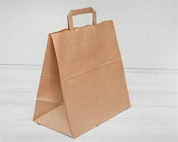 Крафт пакет бумажный, 32х32х18 см, с плоскими ручками, коричневый - фото 5549