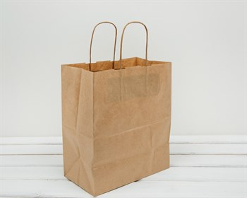 Крафт пакет бумажный, 28х24х14 см, с кручеными ручками, коричневый - фото 5567