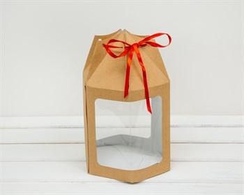 Картонный мешок для пряничного домика/кулича с окном, h=18 см, d=15,5 см - фото 5568