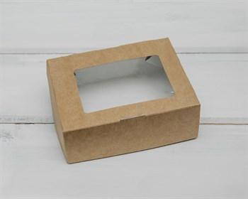 Коробка для выпечки и пирожных, 10х8х3,5 см, с прозрачным окошком, крафт - фото 5619