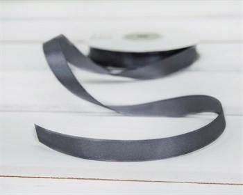 Лента атласная, 12 мм, темно-серая, 1 м - фото 5754