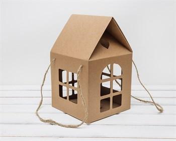 Коробка декоративная  Домик  с ручками и окошками, 20х20х32 см - фото 5829