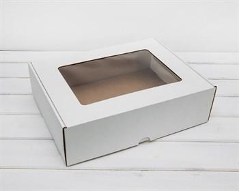 Коробка с окошком, 35х26,5х10 см, из плотного картона, белая - фото 5852