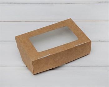 Коробка для выпечки и пирожных, 15х10х4 см, с прозрачным окошком, крафт - фото 5860