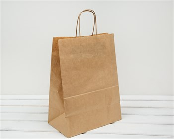 Крафт пакет бумажный, 45х35х15 см, с кручеными ручками, коричневый - фото 5875