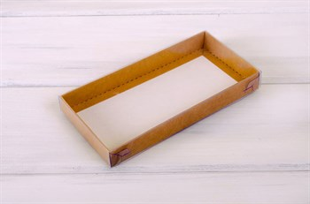 Коробка с прозрачной крышкой Классика, 20х10х2,5 см, крафт - фото 5884
