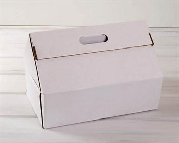 Коробка картонная 31х21х26х11 см в форме домика с ручками, белая - фото 5886