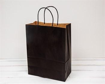Крафт пакет бумажный, 27х21х11 см, черный - фото 5917