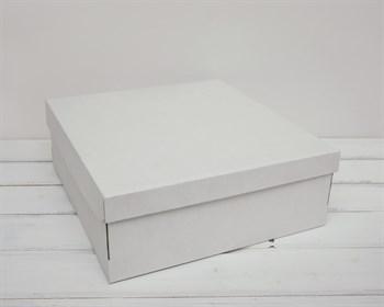 Коробка из плотного картона, 33х31х11,5 см, крышка-дно, белая - фото 6355