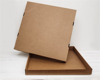 Коробка из плотного картона, 60,5х60,5х6 см, крышка-дно, крафт - фото 6373