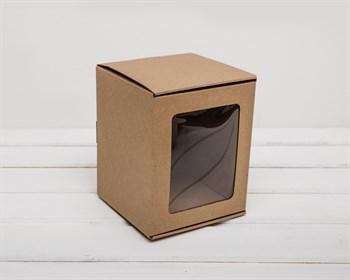 Коробка с окошком, 14х14х17 см, из плотного картона, крафт - фото 6588