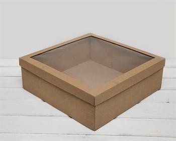Коробка для венка с прозрачным окошком, 35х35х12 см, крафт - фото 6590