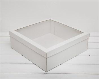 Коробка для венка с прозрачным окошком, 35х35х12 см, белая - фото 6595