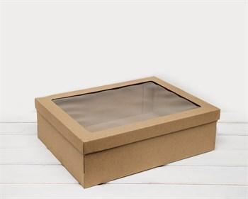 Коробка с окошком 40х30х12, крышка-дно, крафт - фото 6602