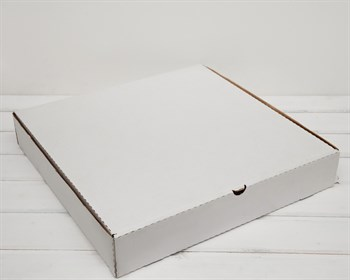 Коробка из плотного картона 41х41х7 см, белая - фото 6623