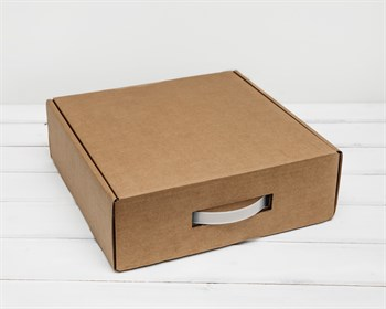 Коробка для посылок с ручкой, 29х29х10 см, из плотного картона, крафт - фото 6624