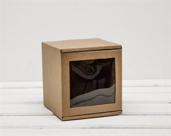 Коробка с окошком, 12х12х12 см, из плотного картона, крафт - фото 6666