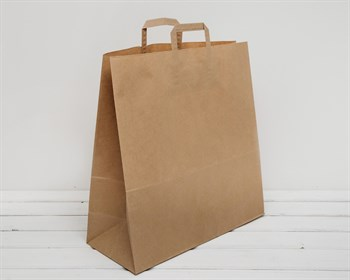 Крафт пакет бумажный, 45х44,5х18 см, с плоскими ручками, коричневый - фото 6694