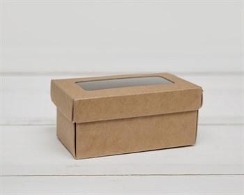 Коробка маленькая с окошком, 7,5х4х3,5 см, крышка-дно, крафт - фото 6705