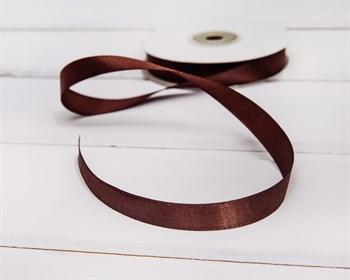 Лента атласная, 12 мм, темно-коричневая, 27 м - фото 6799