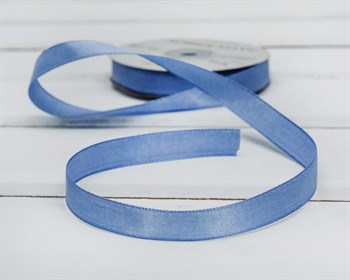 Лента атласная, 12 мм, темно-голубая, 27 м - фото 6804