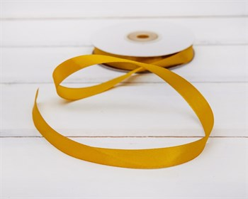 Лента атласная, 12 мм, золотая, 27 м - фото 6806
