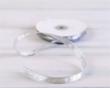 Лента металлизированная, 12 мм, серебряная, 27 м - фото 6821