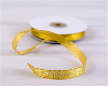 Лента металлизированная, 12 мм, золотая, 27 м - фото 6822
