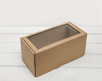Коробка с окошком, 24х12х12 см, из плотного картона, крафт - фото 6981