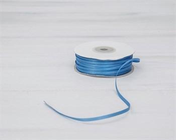 Лента атласная, 3 мм, тёмно-голубая, 91 м - фото 7016