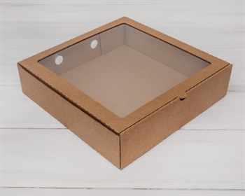 УЦЕНКА Коробка с окошком, 28х28х7 см, крафт - фото 7023