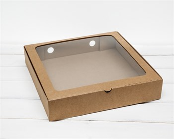 Коробка с окошком, 30х30х6 см, крафт - фото 7125