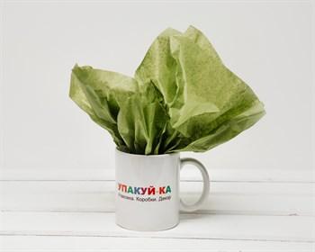 Бумага тишью, оливково-зеленая, 50х66 см - фото 7155