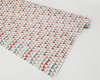 Бумага упаковочная, 70х100 см, треугольники цветные, 1 лист - фото 7358