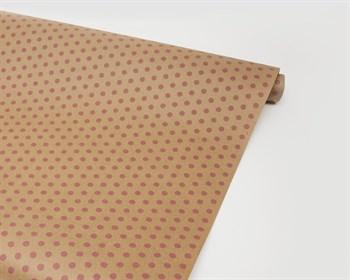 Бумага упаковочная, в розовый горошек, 70см х 10м, крафт, 1 рулон - фото 7379