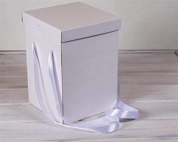 Коробка подарочная для цветов  23х23х32,5 см, с крышкой, белая - фото 7383