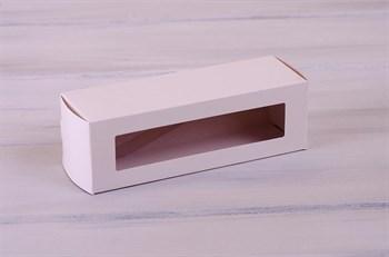 Коробка для макаронс на 6 шт, 18,5х6х6 см, с прозрачным окошком, белая - фото 7407