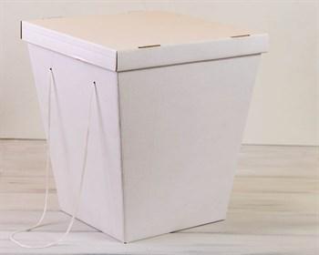 Коробка для цветов трапециевидная, низ 27 см, верх 38 см, высота 42 см, с крышкой, белая - фото 7412