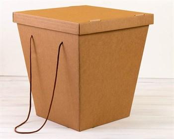 Коробка для цветов трапециевидная, низ 27 см, верх 38 см, высота 42 см, с крышкой,  крафт - фото 7416