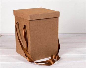 Коробка подарочная для цветов  23х23х32,5 см, с крышкой, крафт - фото 7420