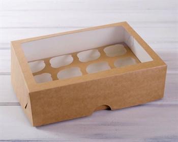 Коробка для капкейков/маффинов на 12 шт, с прозрачным окошком, 33х25х10, крафт - фото 7422