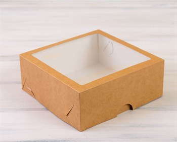 Коробка для выпечки, 25х25х11 см, с прозрачным окошком, крафт - фото 7430