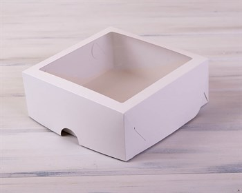 Коробка для выпечки, 25х25х11 см, с прозрачным окошком, белая - фото 7432