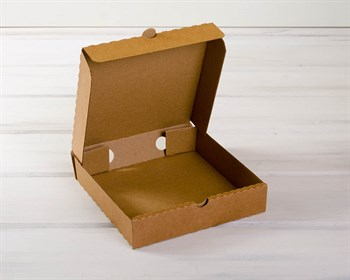 Коробка 19х19х4 см из плотного картона, крафт - фото 7501
