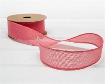 Лента джутовая 40 мм, розовая, 1 м - фото 7535