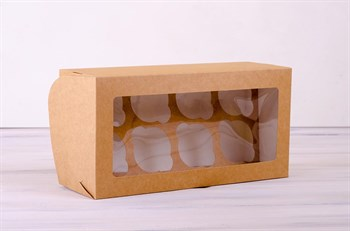 Коробка для капкейков/маффинов на 8 шт, 33х16х11 см, с прозрачным окошком, крафт - фото 7563