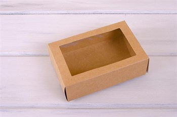 Коробка для макаронс на 12 шт, 18,5х12,2х6 см, с прозрачным окошком, крафт - фото 7571