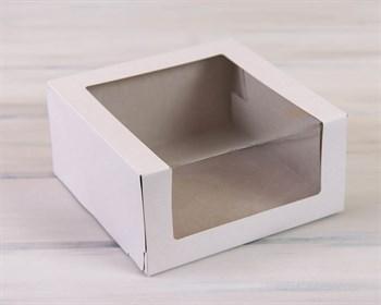Коробка для торта от 1 до 3 кг,  22,5х22,5х10,5 см, с верхним и боковым окошком, d= 15-25 см, белый - фото 7579