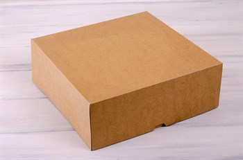 Коробка для торта от 1 до 3 кг, 32,5х32,5х12 см, d= 25-32 см,  крафт - фото 7581