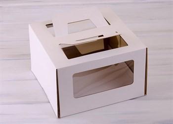 Коробка для торта от 1 до 3 кг, 30х30х19 см,  с ручками и прозрачным окошком, белая - фото 7584